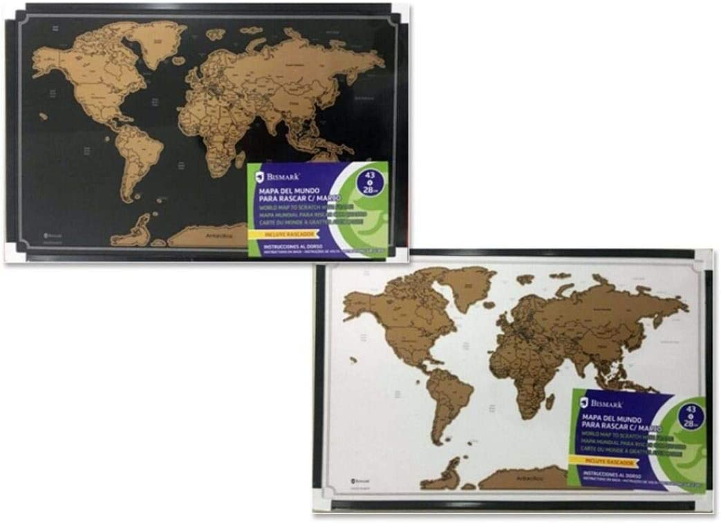 mapa del mundo para rascar 43 cm * 28 cm con marco incluye rascador: Amazon.es: Oficina y papelería