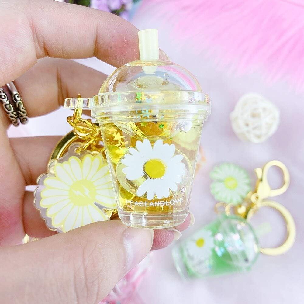 Boba Keychain Milk Tea Creative Mini Soft Drink Keychain Daisy Milk Tea Cup Keychain Beverage Bubble Tea Keyring Moving Liquid 5