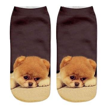 GSYDWZZH 5 unids 3D Calcetines Perro 3D imitación Impreso Calcetines de Las Mujeres Calcetines de Perro