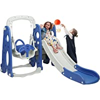 BAHOM 3 in 1 Climber Slides Playset for Boys Girls Indoor and Outdoor Play, Kids Climber with Slide and Swing for Toddlers, Ages 6 Months to 6 Years Old (Blue)