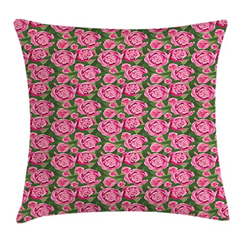 WCMBY Peonies Throw Pillow Cushion Cover, Flower Bouquets Romantic Large Showy Blossoms Garden Fragrance Buds Herbs, Decorative Square Accent Pillow Case, 18 X 18 Inches, Pink Hunter Green (Settee Hunter)