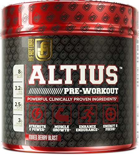 ALTIUS Pre Workout Supplement Naturally Sweetened Clinically Dosed Powerhouse Formulation Increase Energy & Focus, Enhance Endurance Boost Strength, Pumps, & Performance Mixed Berry Blast (14.3 OZ)