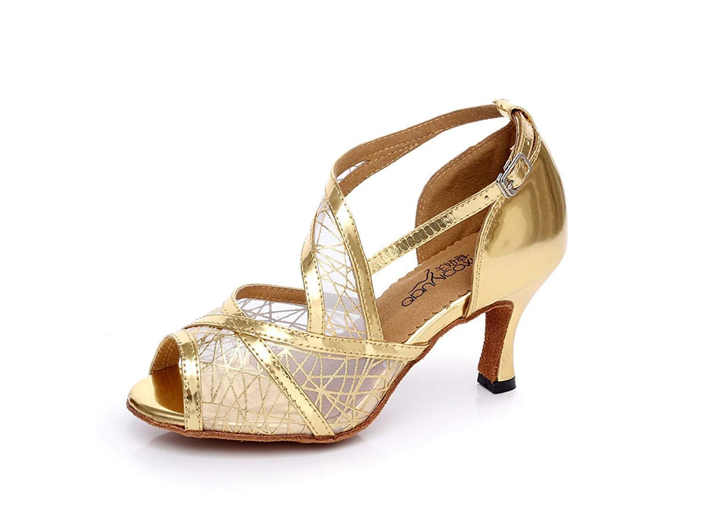 Lateinamerikanische Tanzschuhe für Damen Salsa Tango Chacha Samba Modern Jazz Schuhe Sandalen High Heels Gold-Absatz8.5cm-UK4   EU35   Our36