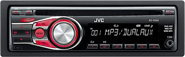 JVC KDR-330Single-Din Car Stereo with Dual Aux Inputs/3-Band Equalizer/6 Station Presets