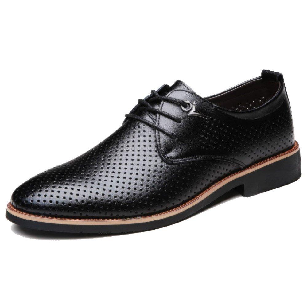 OEMPD Herren Lederschuhe aus Echtem Leder Jugend Business-Tipps Casual Dress Schuhe Schnürschuhe
