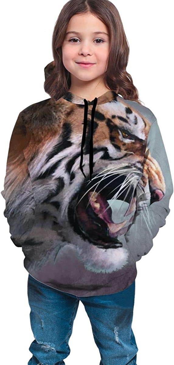 3D Print Pullover Hoodies with Pocket Roaring Tiger Soft Fleece Hooded Sweatshirt for Youth Teens Kids Boys Girls 7-20 Years
