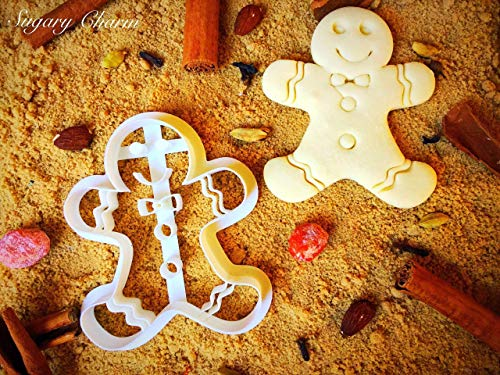 Gingerbread Boy Cookie Cutter - Unique Birthday/Christmas Cutters - 4 Inches Eco Friendly Plastic - 3D Shaped Cookies for Family - Mini Gingerbread Man Cookie Cutters