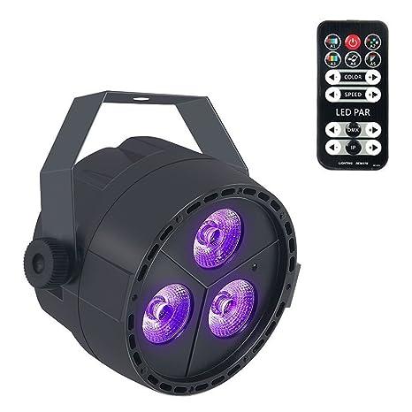 3 LED 4 W Foco Par luces, lunsy RGB Multicolor 7 Modos iluminación Etapa iluminación
