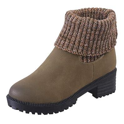e8e2708554d639 Holeider Leder Stiefeletten Damen Warm Quadratischer Absatz Schneestiefel  Winterstiefel Casual Runder Zeh Schuhe Frauen Winterschuhe Boots