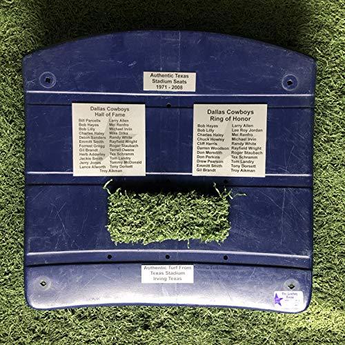 Dallas Cowboys Texas Stadium Seat Bottom W/Hall of Fame & Ring of Honor Plaques Plates & Authentic Texas Stadium Green Turf COA