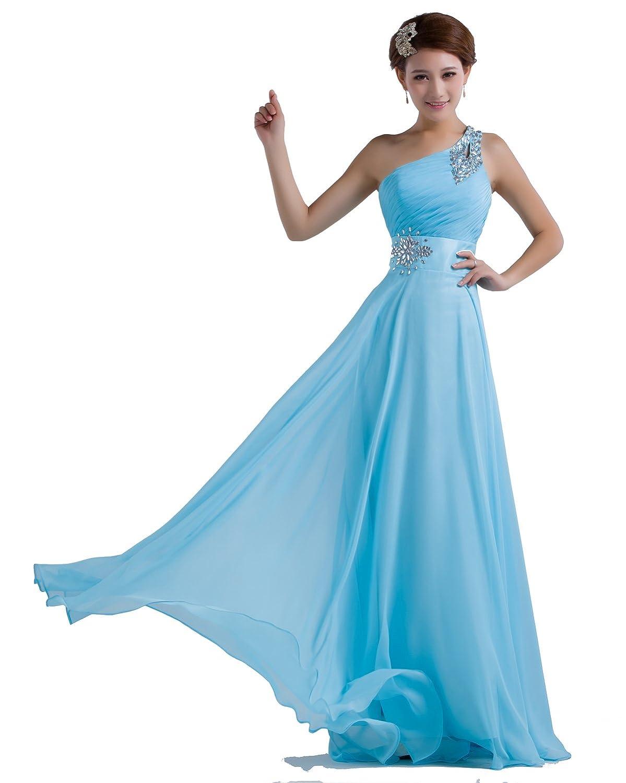 Amazon.com: DLFASHION One-shoulder Floor Length Beaded Chiffon Prom ...
