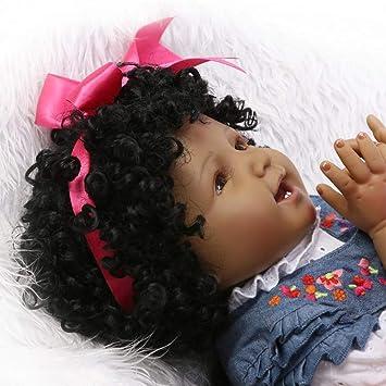 Amazon.com: FHSGG Muñecas de bebé renacido negro suave ...