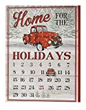 Giftcraft 14'' Vintage Red Truck Wood Christmas Sign with Advent Calendar