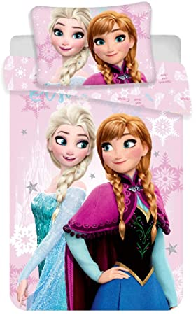 Just1Click ELSA and Anna Childrens Bed Linen Set 100 x 135 cm Pillow 40 x 60 cm Printed with ELSA and Anna Frozen for Girls 100/% Cotton