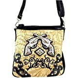 Embossed Western Rhinestone Pistols Cross Body Purse Messenger Bag Croco (Black)