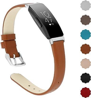 Imagen deXIMU Compatible Fitbit Inspire HR Correa/Inspire Correa, Correa de Hombro Ajustable Cinturón Deportivo Pulsera de Cuero Muñequera Accesorios de reemplazo Compatible Mujer Hombre