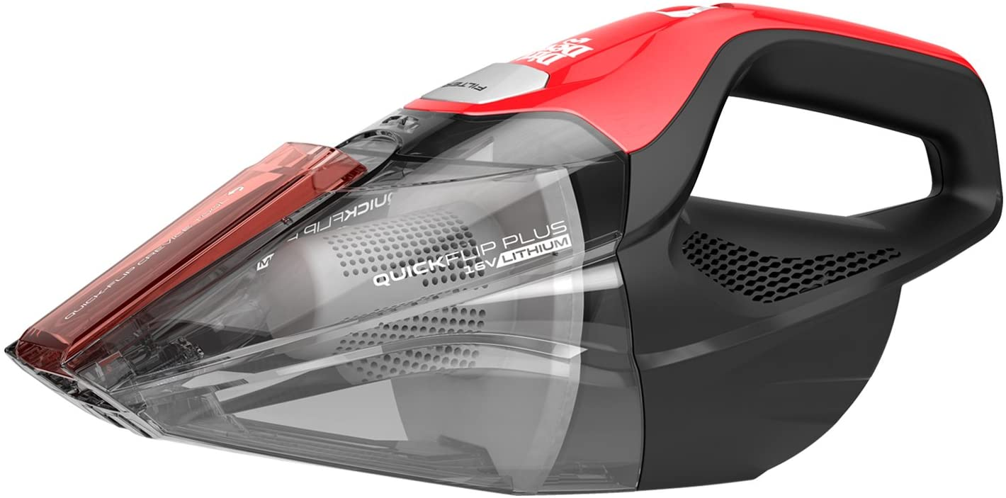 Dirt Devil Plus 16V, Red Quick Flip Pro Cordless 16 Volt Lithium Ion Bagless Handheld Vacuum Cleaner BD30025B