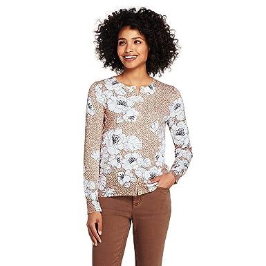 09390f8c94 Lands  End Women s Tall Supima Intarsia Cardigan Sweater at Amazon ...