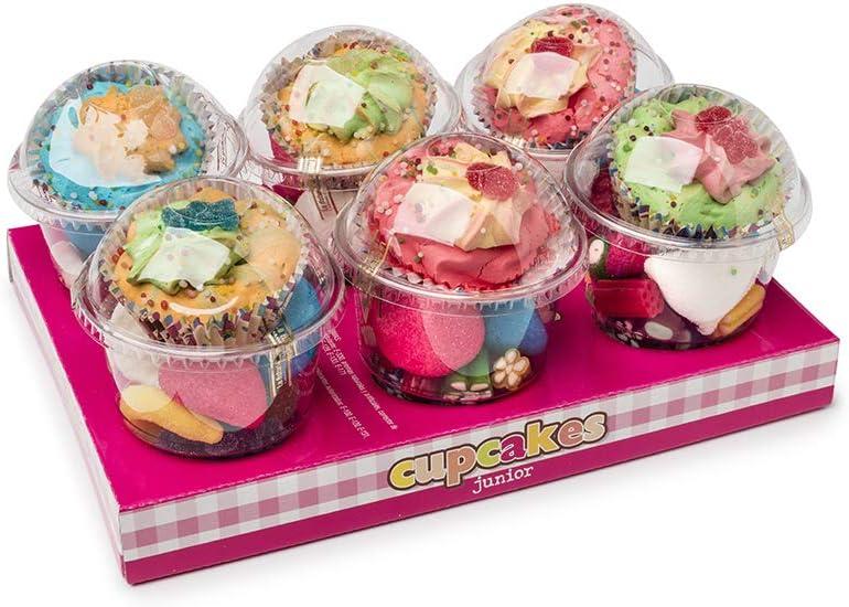Cupcakes La Asturiana - Envases en forma de cupcake Rellenos de Marshmallows y Golosinas Variadas - Caja con 6 unidades (600 gramos)