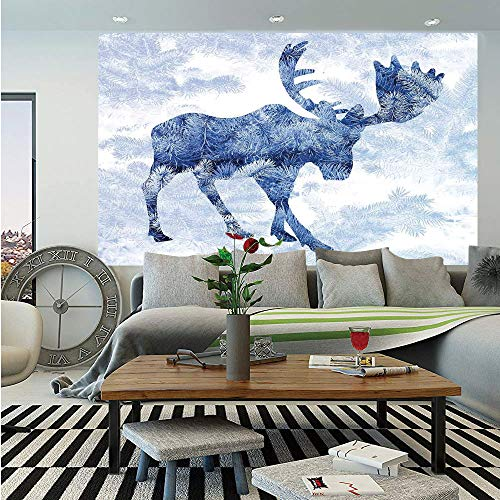 Moose Wall Mural,Blue Pattern Pine Needles Spruce Tree with Antlers Deer Family Snow Winter Horns,Self-Adhesive Large Wallpaper for Home Decor 55x78 inches,Blue - Antler Faux Birch