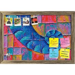 ArtzFolio Blue Trunk Printed Bulletin Board Notice Pin Board Cum Antique Golden Framed Painting 17.4 x 12inch