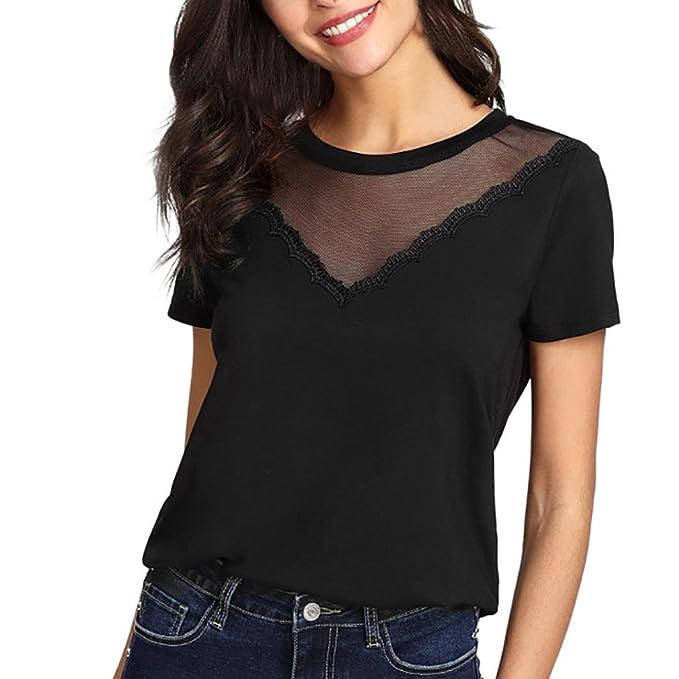 a541692946c2 Longra T-Shirt Damen Elegante Blusen Shirt Schwarze T-Shirt Frauen Kurzarm  Spitzenshirts Patchwork