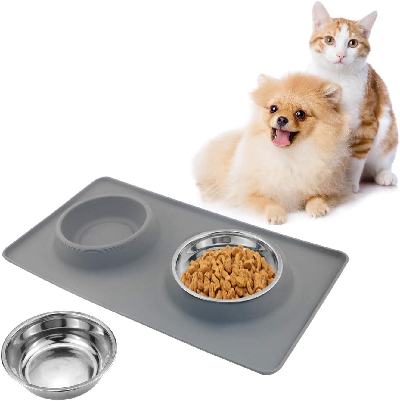 TedGem Comedero Perros con Doble Cuenco de Acero Inoxidable y Base Antideslizante de Silicona con Sistema de prevención de derrames, Mantel para Perro,Productos para Mascotas