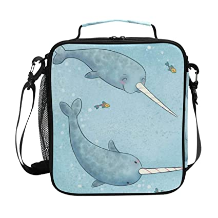 32cb62c5b2a1 Amazon.com: LALATOP Funny Narwhal Lunch Box for Kids Small Insulated ...