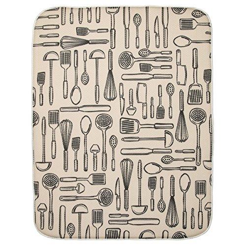 InterDesign 40410 iDry Absorbent Kitchen Countertop Dish Drying Mat - 24 X 18, Extra Large, Wheat/Ivory iDry Kitchen Mat Utensils- XLarge 24 X 18