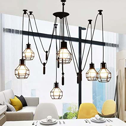 Hdmy Lámpara de techo vintage Iluminación colgante Edison ...