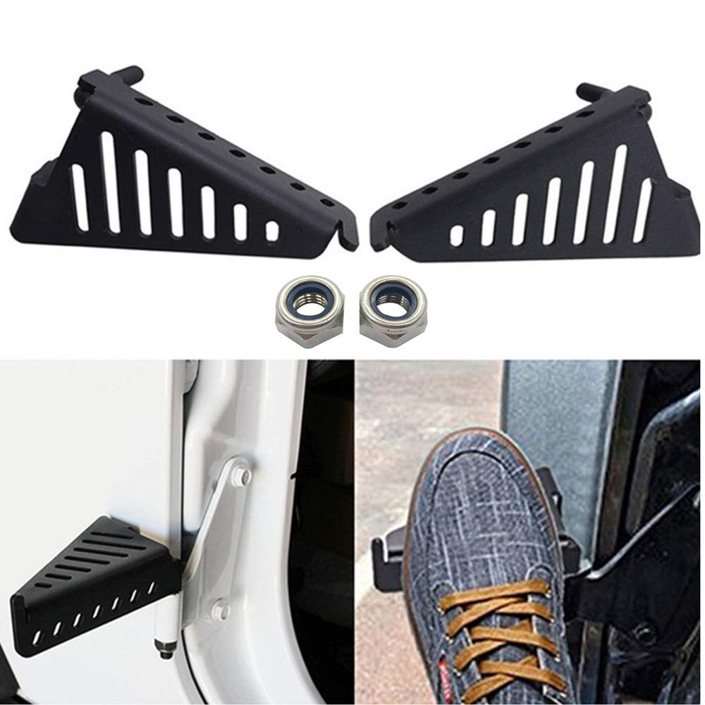Black Powder Coated Foot Rest Grille Kick Panel for 2007-2017 Jeep Wrangler Jk JL JKU Unlimited iFJF Front Foot Pegs Solid Oxidized Iron 1pair