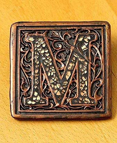 5 Pc Mosaic Letter M Monogram Table Coaster Set Botanical Vignette Design Decor