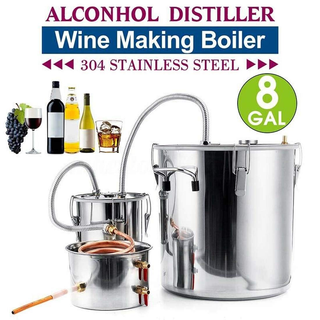 Vanell 8Gal Home Use Moonshine Still Brewing Stainless Steel Distiller Water Wine Alcohol Distiller Distilling Equipment Copper Tube Boiler Home DIY Brewing Kit