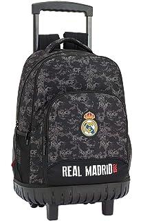 Real Madrid cf Mochila Grande con Ruedas Carro Fijo, Trolley, 45 cm, Negro