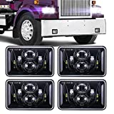 (4 PCS) DOT approved 60W 4x6 inch LED Headlights Rectangular Replacement H4651 H4652 H4656 H4666 H6545 for Peterbil Kenworth Freightinger Ford Probe Chevrolet Oldsmobile Cutlass -Black