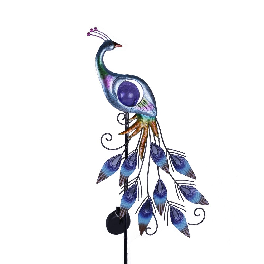 "Hannah's Cottage 31.5"" Outdoor Paradise Metal Garden Stake with Solar Led Lights, Decorative Solar Peacock Stake for Garden, Patio, Backyard and Outdoor (Green and Blue)"