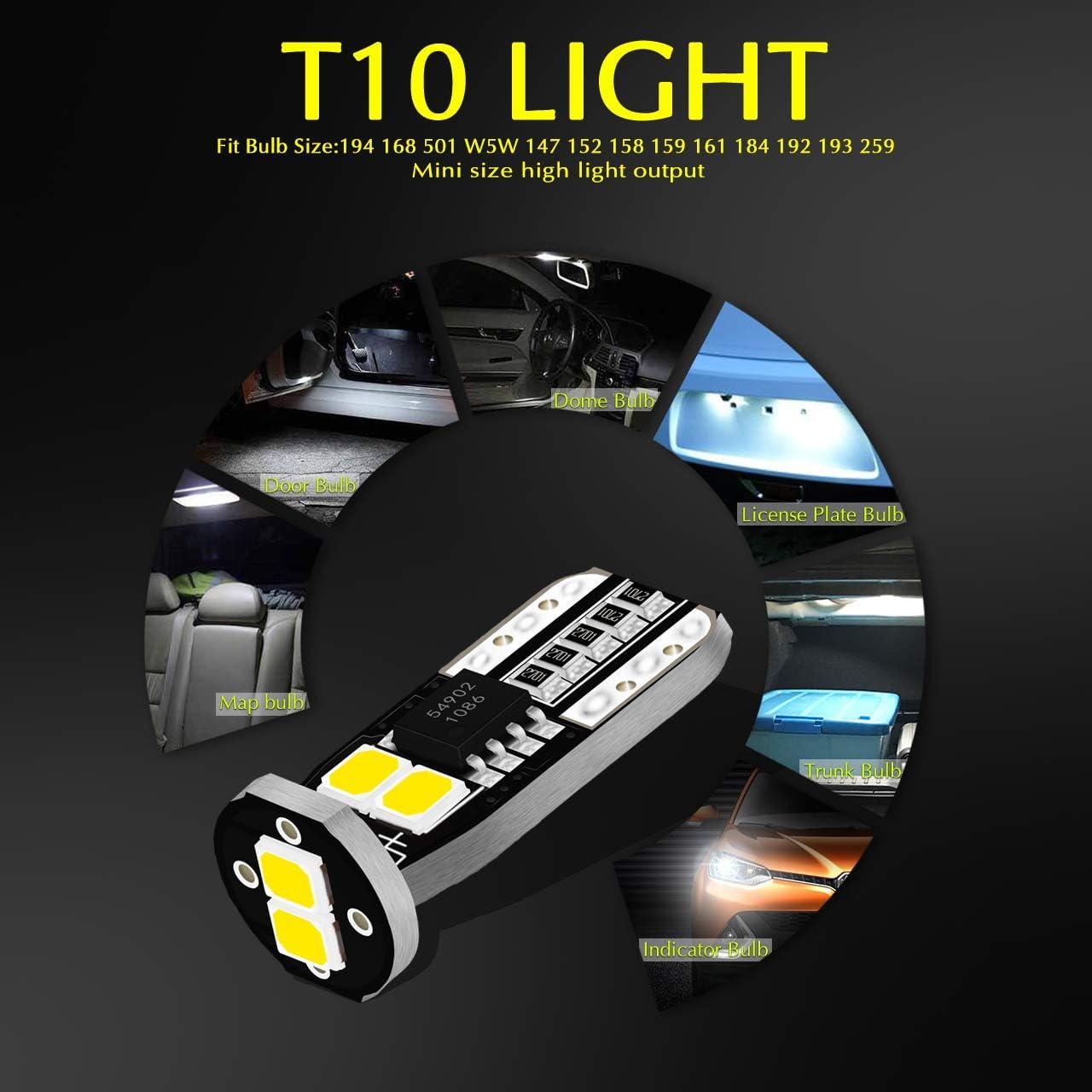 Pack de 4 KaTur 450 Lumens T10 CanBus LED Ampoules 3030 Jeu de puces 194 168 175 2825 Int/érieur de la Voiture D/ôme Carte Feu de Position lat/éral de la Plaque dimmatriculation Lumi/ères Blanc12V