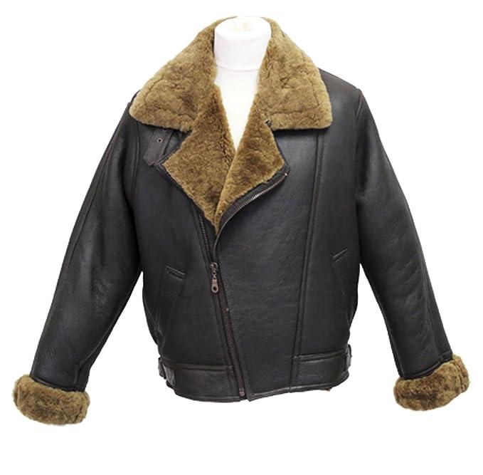 Infinity Hombres Marrón Crosszip Aviator gruesa piel de oveja de piel de oveja chaqueta de cuero