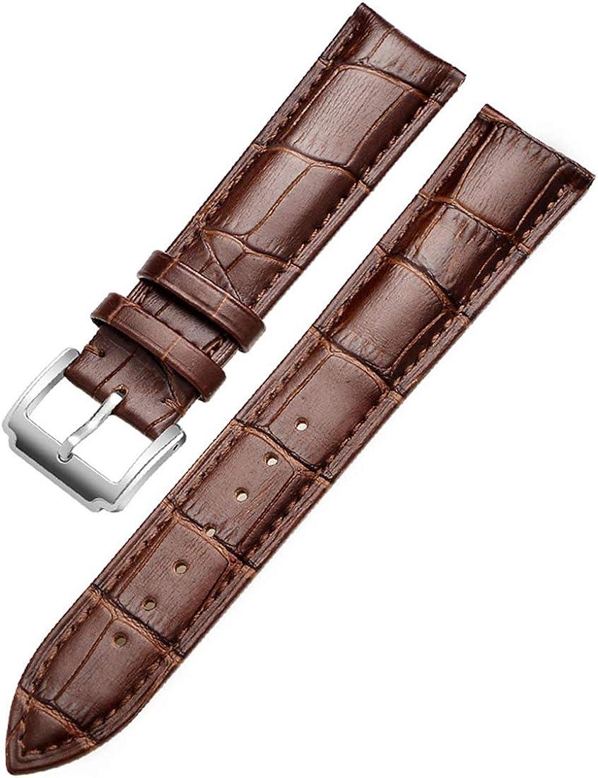 12/13/14/15/16/18/19/20/21/22/23/24mm Montre en Acier Inoxydable ardillon Bracelet Souple en Cuir Veau Bracelet de Montre Bracelet Bande Montre étanche Silver Black A