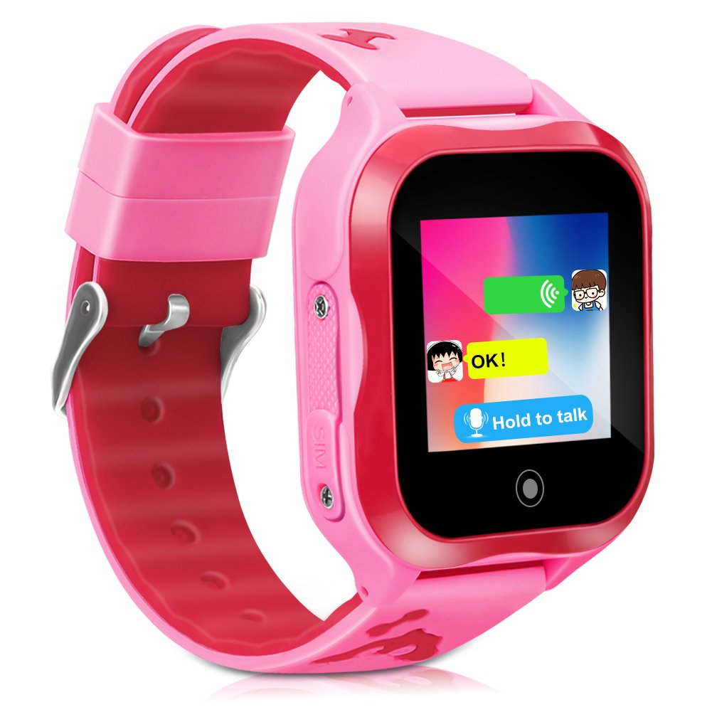 LJRYCQSSZSF  Kids Smart Watch Phone GPS Tracker Ip67 Waterproof Kids Smartwatches Age 3-15 Boys Girls Touch Screen SIM Slot Educational Toys Phone 1.44 Inch Birthday Gift  (Pink)