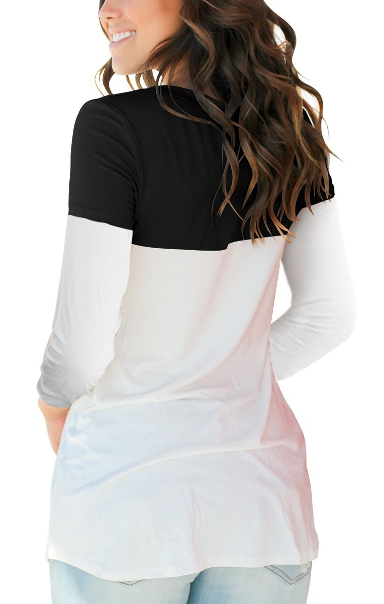 Smalovy Color Block T Shirt for Women Fashion 3/4 Sleeve Tee Top with Pocket Black XL by Smalovy (Image #4)