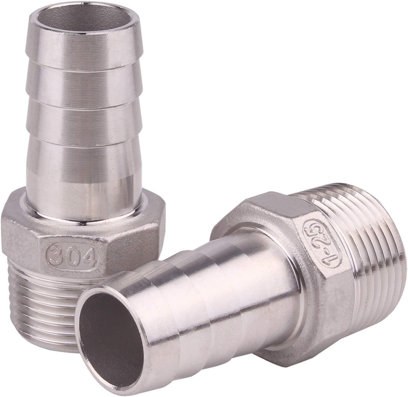 """DERNORD Stainless Steel 1"""" Hose Barb x 1"""" NPT Male - Home Brew Pipe Fitting Pack of 2"""