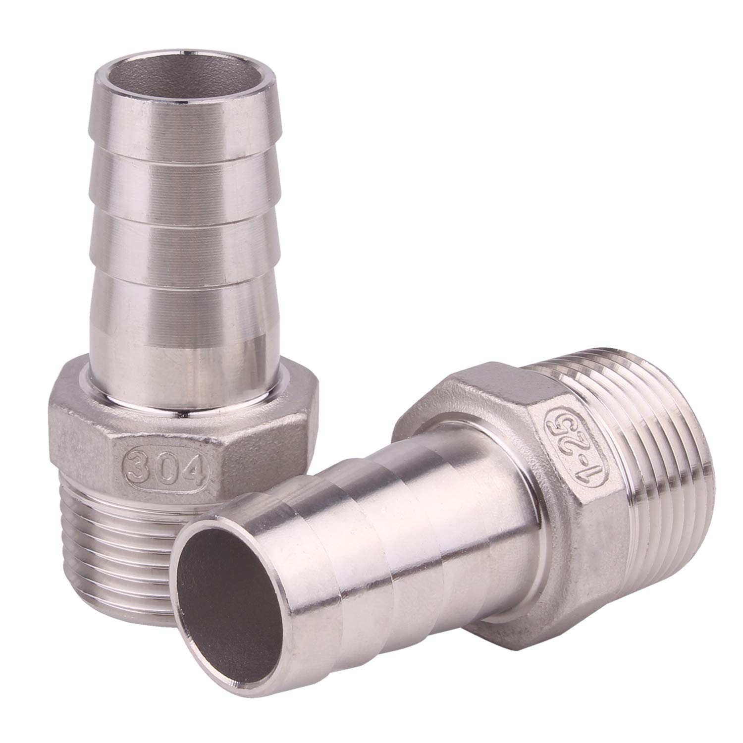 Dernord 1'' Barbed Hose x 1'' NPT Male - Home Brew Fitting 304 Stainless Steel Pack of 2 (1'' Barb to 1'' NPT fitting)