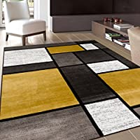 Contemporary Modern Boxes Area Rug 5 3 X 7 3 Yellow