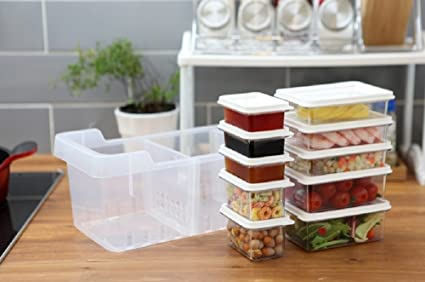 Beau Kitchen Refrigerator Organizer, Fridge And Freezer Storage Trays Large+Food  Containers With Lids S1