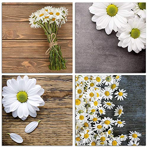 NAN Wind Modern 4 Piece Canvas Print Wall Art Painting for Home Decor Floral Still Life of White African Daisy Flower in The Table Picture Paintings for for Home Decor Valentine