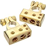 AUDEW 1 Paar 4/8 Awg Batterieklemme Positiv und Negativ Battery Terminal Autobatterie Klemmen Gold