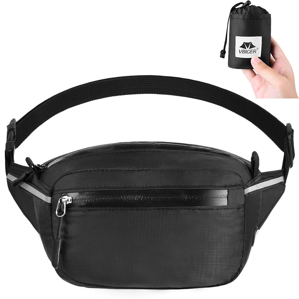 VBIGER Waist Pack Bag Fanny Pack for Men Women,Foldable Hip Bum Bag Waterproof Belt Bags with Large Capacity Adjustable Strap Earphone Hole