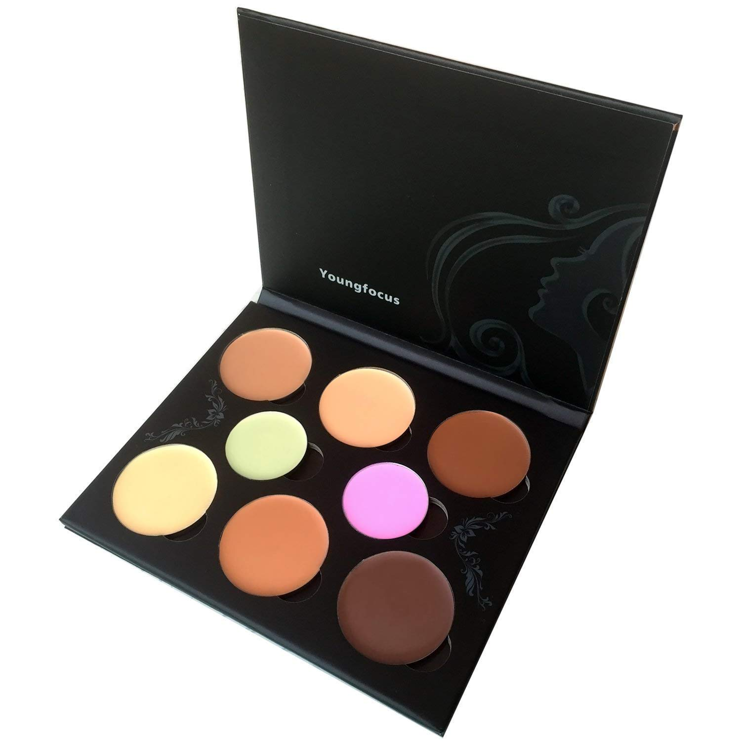Youngfocus Cosmetics Cream Contour Best 8 Colors Contouring Foundation - Highlighting Makeup Kit/Concealer Palette - Vegan, Cruelty Free and Hypoallergenic - Instruction Manual