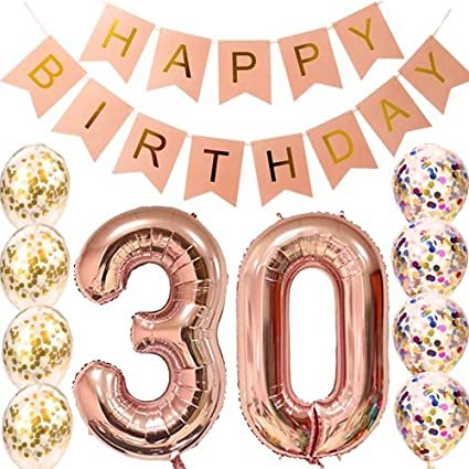 Globos de fiesta de 21 cumpleaños de oro rosa, pancarta de ...